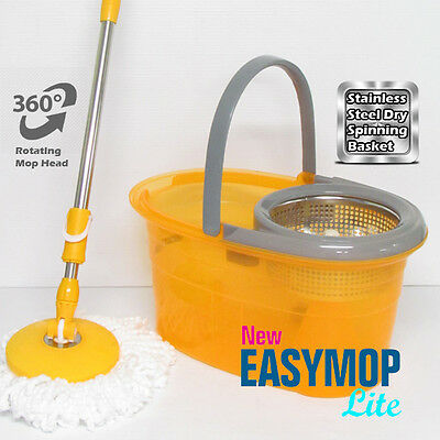 New Magic Easy Mop Lite 2 Functions Spin Rotating Bucket Set +2 Microfiber Heads