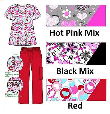 NEW Womens Printed Scrubs Sets XS-3XL Medical Nursing Nurses Dental Uniforms
