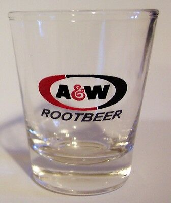 """A&w Rootbeer Soda """"old Time"""" Logo On A Clear Shot Glass"""