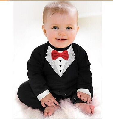 Baby Boy Wedding Christening Formal Bow Smart Suit Outfit Tuxedo Jumpsuit 3-18 m