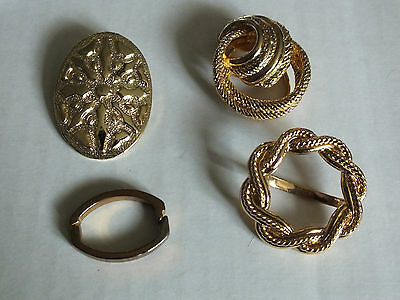 Collectible Gold Tone Scarf Clip Set 4 Very Ornate 3 Styles NICE