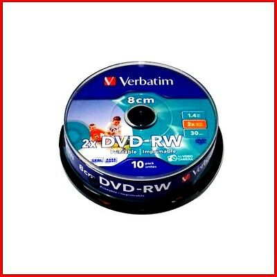Verbatim DVD-RW 1.4GB 8cm 30min Printable Camcorder Mini DVD Discs Spindle PK 10