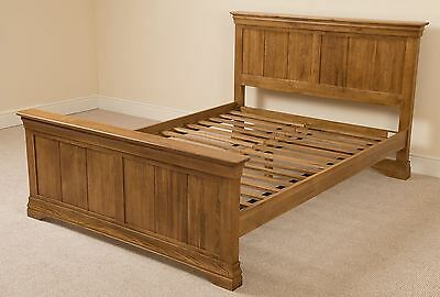 Solid Oak Bed Frame Double French Wooden Rustic Bedstead Bedroom Furniture