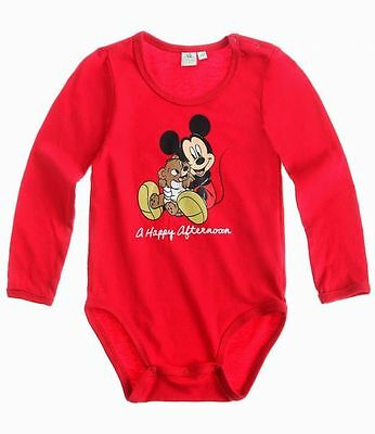Disney Mickey Body, Langarm, rot, Gr. 62-86
