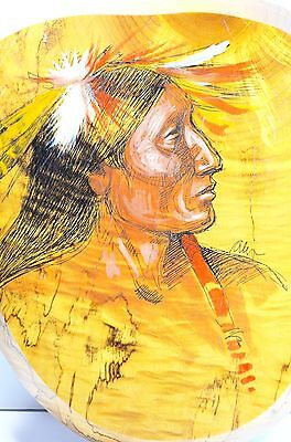 Oregon Myrtlewood Wall Plaque Hand Painting Indian man on the wood