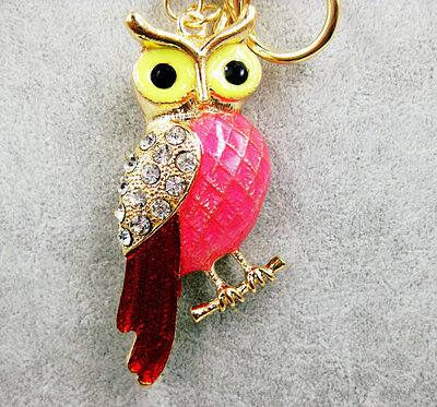 New Charm Owl Crystal Keychain Pendent Keyring Purse bag Key ring chain gift