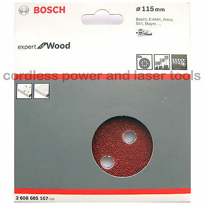 Bosch Sanding Discs 115mm for WOOD 8 Hole Mixed Grit 60 120 240  2 608 605 107