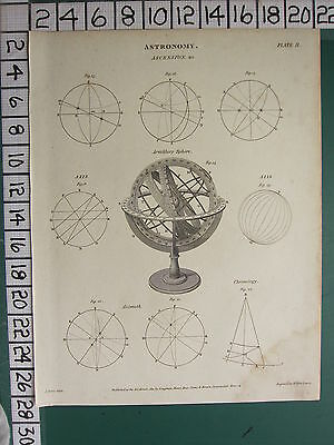 1811 Dated Antique Print ~ Astronomy Ascension Armillary Sphere Axis Diagrams