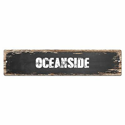 OCEANSIDE Personalized Chic Metal Sign Home Decor Cities 4x18 104180007237