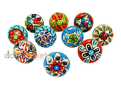 10 Pcs Red,Dodger blue With Mix Color Ceramic Knobs Kitchen & Other Drawer Pulls