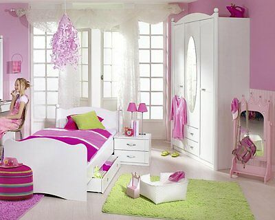 traumhaft 3 tlg m dchen kinderzimmer in pink autobett kleiderschrank nachttisch eur. Black Bedroom Furniture Sets. Home Design Ideas