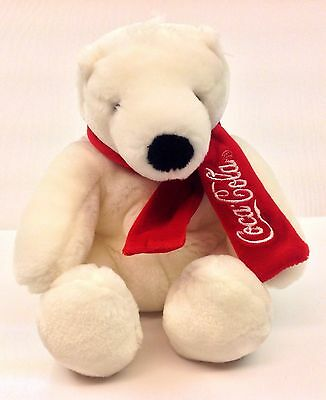 "Coca Cola Collectible  White 7"" Polar Bear Stuffed With Red Scarf By Boyds 2009?"