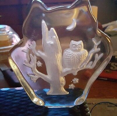 Owl Shaped (with carved owl in tree, stars and 1/4 moon) Glass