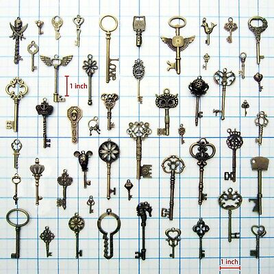 50x Antique Vtg Old Look Decor Skeleton Key Pendant Bow Steampunk Charms Jewelry