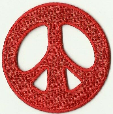 Ecusson Patche Patch Thermocollant Peace  And Love Rouge Diametre 7 Cm