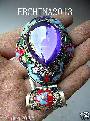 Old Decorated Handwork Miao Silver Carving. Flower Inlay Zircon Pendant