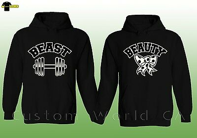 Couple Hoodie - Beauty and Beast Matching Pullover His Hers Hoodies grey design