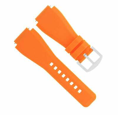24Mm  Rubber Band Strap For Bell Ross Br-01-Br-03 Orange Brush Buckle