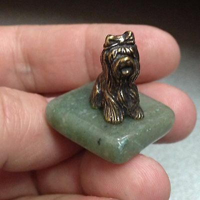 Yorkshire Terrier Brass tiny figure on stand stone handmade Souvenirs Russiа