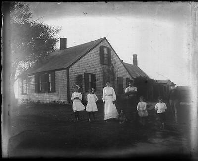 Vintage 4x5 Glass Negative of a Young Family in Front of Their House c.1914