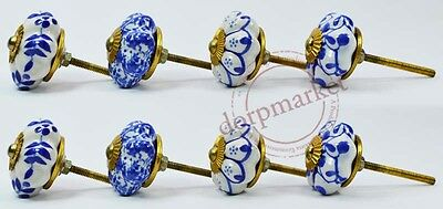 16 Pcs Blue & White Mix Color Kitchen / dress Ceramic Knobs Cupboard drawer Pull