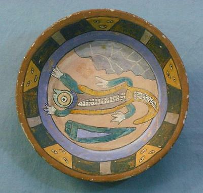 Antique Earthenware Pottery Plate w/ Very Colorful Lizard & Face Decorations