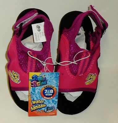 Girls Swim School Water Sandals Easy On & Off Durable Size Medium 7/8