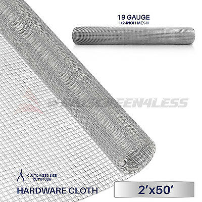 "Galvanized Hardware Cloth Wire Metal Mesh Fencing 24"" x 50' x 1/2"" or 1/4"" Hole"