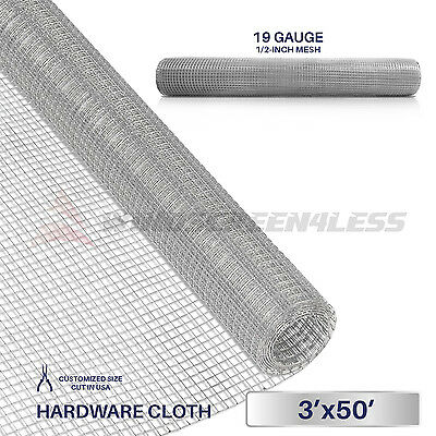 "Galvanized Hardware Cloth Wire Metal Mesh Fencing 36"" x 50' x 1/2"" or 1/4"" Hole"
