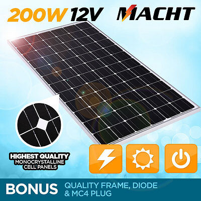 New Macht 200W 12V Single Solar Panel Kit Camping Power Source Charge