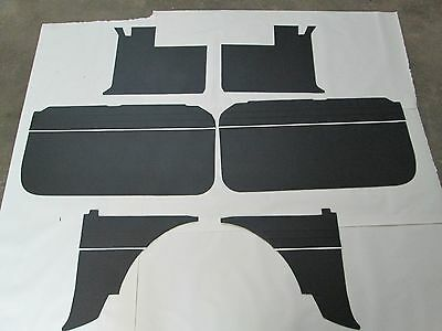 New 6 Piece Interior Panel Set W/ Door Panels MGB 1965-1967 Black W White Piping