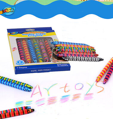 7 Multicolor Crayons Double Side Creative Colorful Textured Effect  Kids Drawing