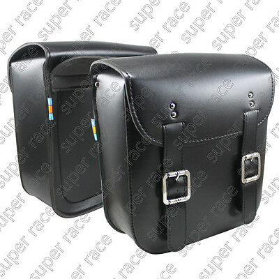 Stock Black Universal Motorcycle PU Leather SaddleBags Side Bags Metal Clasp