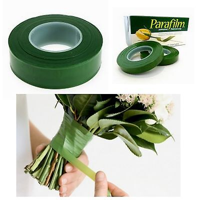 2x GREEN PARAFILM® Wedding Craft Florist Stem Wrap Floral Tape Waterproof 27m