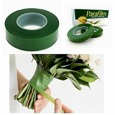 2x GREEN Parafilm Wedding Florist Craft Stem Wrap Floral Tape Waterproof 27m
