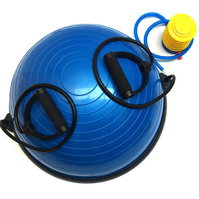 Fxr Balance Wobble Board Blue Half Ball Gym Training Fitness With Straps & Pump