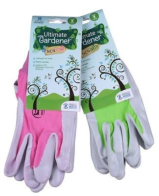 Ultimate Gardener NCN 470 Nitrile Palm Gardening Gloves - Pink or Green