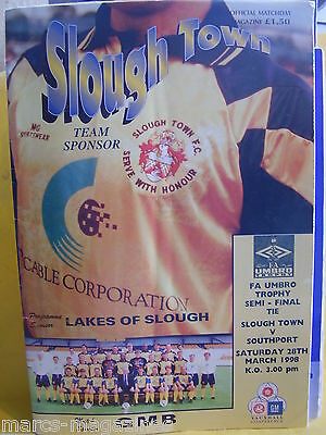 Football Programme Slough Town V Southport 28Th March 1998