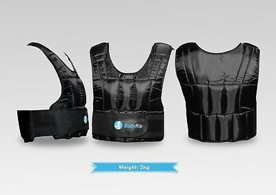 BodyRip 5kg Weighted Vest Jacket Neoprene Lining Extra Padding Removable Weights