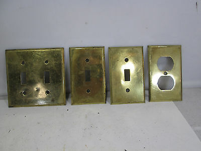 Vintage Lot of Brass Light Switch Covers and Receptacle #2
