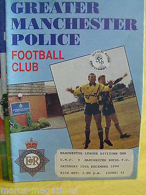 Football Programme Greater Manchester Police V Manchester Royal 10Th Dec 1994