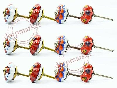 12 Pcs Orange,Red & Blue Color Kitchen /dress Ceramic Knobs Cupboard drawer Pull