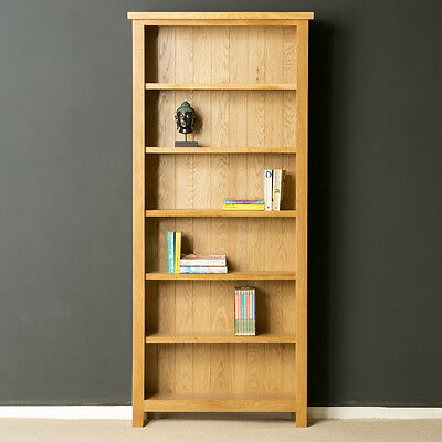 London Oak Large Bookcase / Tall Bookcase / Solid Wood Shelving / Brand New