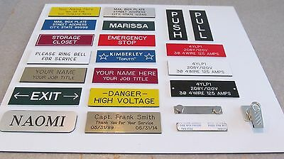 "Lot of 10 Custom Engraved 1""x3"" Personalized Magnet or Pin Back Name Tags Badges"