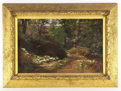 Charles Thomas Bale Impressionist Oil on Canvas Forest Primroses