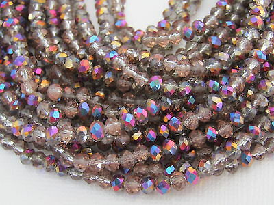 100 pcs  RONDELLE FACETED GLASS CRYSTAL BEADS 6mm PERU jewellery