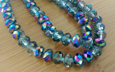 100 pcs  RONDELLE FACETED GLASS CRYSTAL BEADS 6mm Multi-Colour Plated