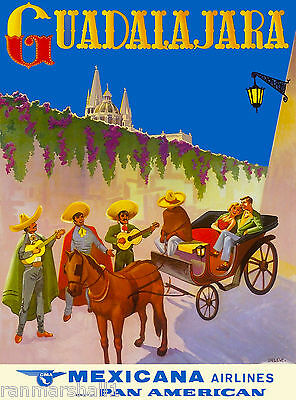 Guadalajara Mexico  Airplane Mexican Latin America Travel Advertisement Poster