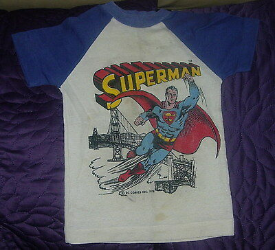 Dc Comics  Superman  T-Shirt  Short Sleeve  Boys S  C. 1978  Vintage