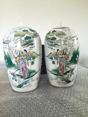 Five colour Tea Pot Pair Chinese Antique
